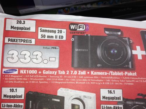 Schossau Mönchengladbach: Samsung Bundle NX1000 + Galaxy Tab 2 7.0 8GB