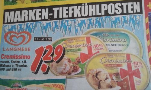 Langnese Cremissimo bei Krümet(lokal 12 mal in Norddeutschland) für 1,29€