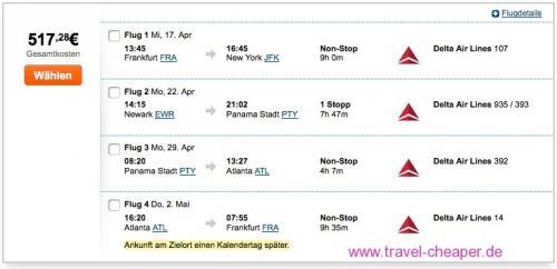 3 Städte, 2 Kontinente, 1 Ticket: Frankfurt ? New York City ? Panama Stadt oder Bogotá oder São Paulo ? Atlanta ? Frankfurt schon ab 517 €