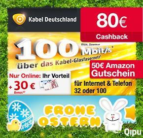 Qipu: Kabel Deutschland mit 80€ + 50€ Amazon-Gutschein = 130€ für Internet + Telefon