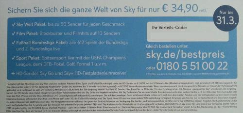 3 X Sky Vorteilscodes für Komplett 34,90 bei 12 Monaten Laufzeit nur noch bis 31.03 gültig