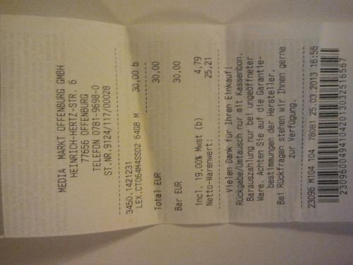 (lokal MM Offenburg) Crucial M4 64GB SSD für 30€!