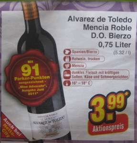 Alvarez de Toledo 2009, Rotwein mit 91 Parker-Punkten @Netto (ohne Hund)