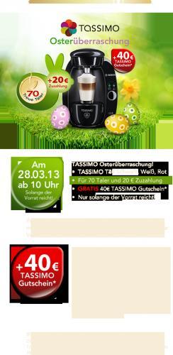 OSTERÜBERRASCHUNG: Tassimo T20 für 20€ +70 Jacobs-Kronen NUR AM 28.03.