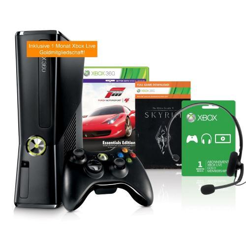 Microsoft Xbox 360 Slim 250 GB + Forza 4 + Skyrim und 1 Monat XBOX Live Goldmitgliedschaft @ cYberPort