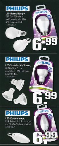 Philips LED Leuchtmittel E27, E14 und GU10  € 6,99  (Lokal MG, KR, NE)