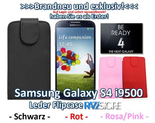 Leder Flipcase für Samsung Galaxy S4 i9500 in verschiedenen Farben!