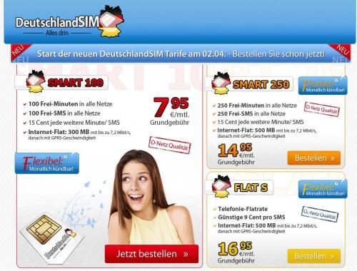 All Net Flatrate ohne Laufzeit für 16, 95€ von Deutschlandsim