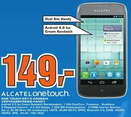 [Lokal Hilden] Saturn - Alcatel One Touch 997D Dual Sim Ardesia vertragsfrei