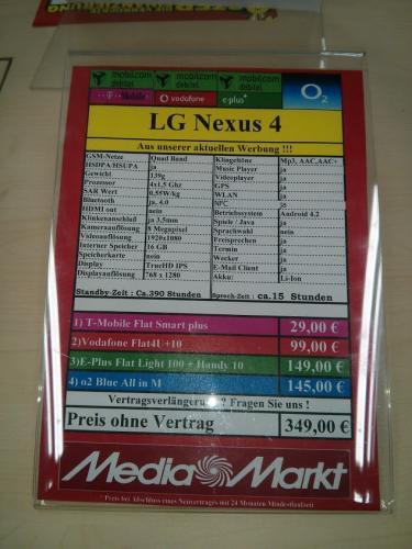 [lokal offline - Media Markt Erfurt] LG Google Nexus 4 16GB für 349€