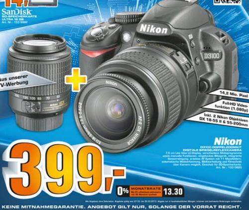 NIKON D3100 18-55II mm+55-200mm @Saturn Ansbach auch Online