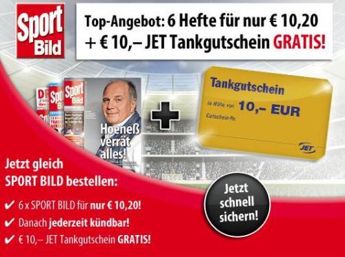 6 x SPORT BILD für 10,20 € inkl. € 10,– JET Tankgutschein