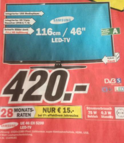 [Lokal] Samsung UE46EH5200 und weitere TV-Angebote (alle unter Preisvergleich) @ MediaMarkt Neubrandenburg