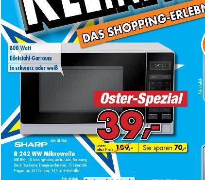 [Lokal Mediadeal Lübbecke ]   Mikrowelle  Sharp Electronics R242WW in schwarz oder weiß mit Edelstahlgarraum  39€