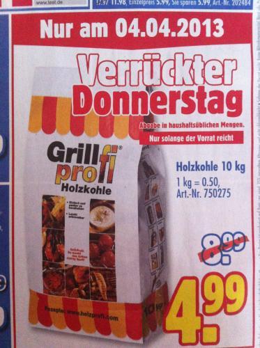 Verrückter Donnerstag: 10kg Grillprofi Holzkohle für 4,99€ @ Praktiker [0,50€/Kg]
