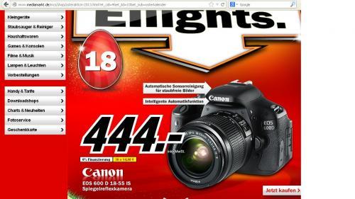 Canon EOS 600D Spiegelreflexkamera mit 18-55mm f/3.5-5.6 IS Objektiv @Media Markt Ostereilights [online]
