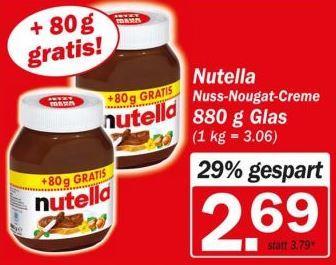 Nutella 880g bei Hit für 2,69€ , evtl. bundesweit?
