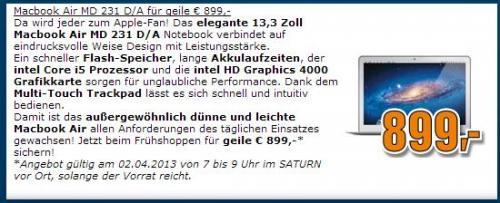 """[Saturn Österreich] - Macbook Air 13"""" - Nur 02.04 von 7-9 Uhr"""