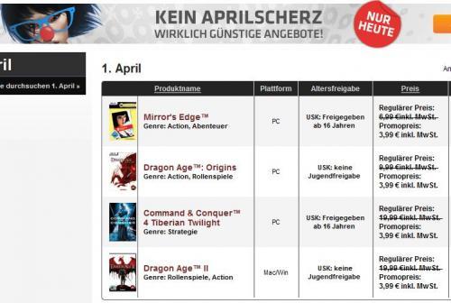 [Origin] 1. April - Sale: Mirror's Edge, Dragon Age 2 und Origins, C&C4 TT alle für 3,99 €