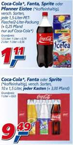 @real Cola, Fanta,... 1,5L Flaschen á 1,11€ Kiste á 9,49