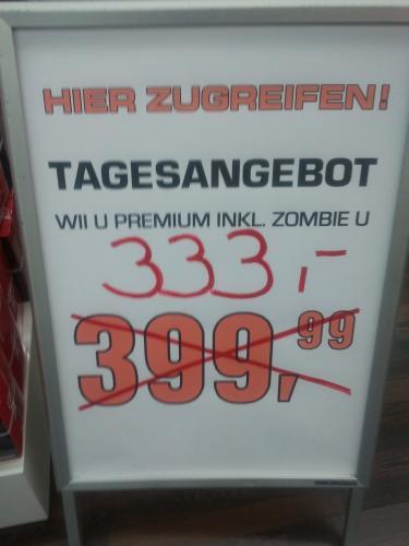 [LOKAL] Tagesangebot: WII U Premium inkl. Zombie U für 333,- € bei Saturn am Tauentzien - Berlin