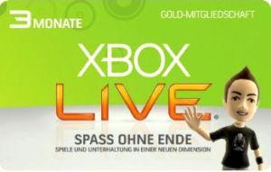 XBOX 360 LIVE GOLD CARD Karte Code 3 MONATE Month NEU  für 12,95 Euro
