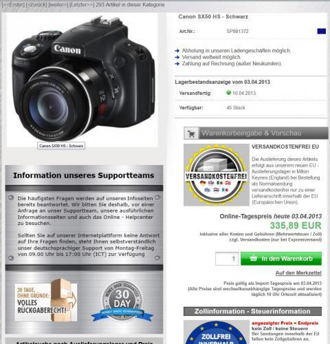 Canon SX50 HS - Schwarz