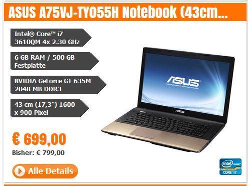 """ASUS A75VJ-TY055H Notebook (43cm (17,3""""); 6GB RAM; 500GB HDD; Windows 8) - ganze 100 Euro billiger - boa der Bär"""