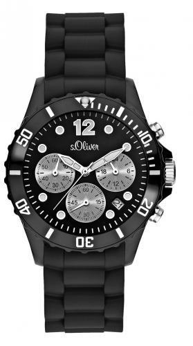 s.Oliver Damen-Armbanduhr Chronograph Silikon schwarz für 59,90€ @Amazon