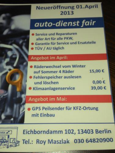 Berlin-Reinickendorf: Fehlerspeicher im Auto auslesen und löschen lassen 0,-€ und Klimaanlagenwartung für 39,-€ als Neueröffnungsangebot