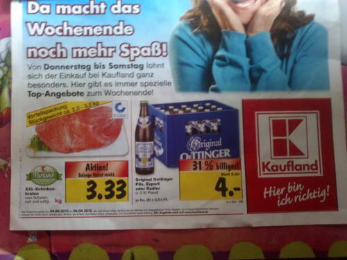 Oettinger Pils, Export oder Radler im Kaufland für 4,00 € , vermutlich lokal in und um Heilbronn