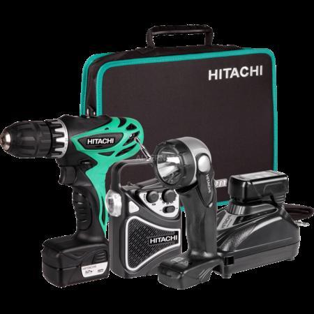 Hitachi KC 10DHL - Akku-Bohrschrauber mit zwei Akkus, Lampe, Radio, Koffer