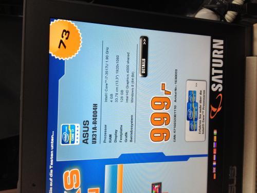 Asus UX31A mit Core i7-3517U und 128 GB [Lokal München Stachus]