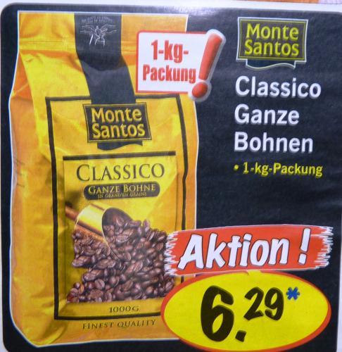 LIDL KAFFEE GANZE BOHNE 1KG MONTE SANTOS 6,29€  [BUNDESWEIT?]