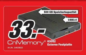 [MM Baden Baden ] 500GB CnMemory 2,5 Zoll Festplatte USB 3.0
