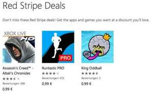 Microsoft führt Red Stripe App-Deals ein