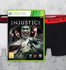 Injustice Bundle (für XBox 360 oder PS3 + 2 Boxershorts) für 41,25 € @ Zavvi