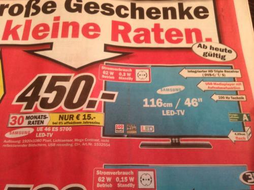 [Lokal] Samsung UE46ES5700 (Triple Tuner, USB-Mediaplayer) @ MediaMarkt Neubrandenburg - weitere TVs zu Bestpreisen