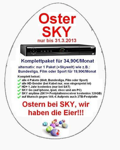 Sky Komplett für 34,90€ inkl FestplattenReceiver für 0€ HändlerCertified