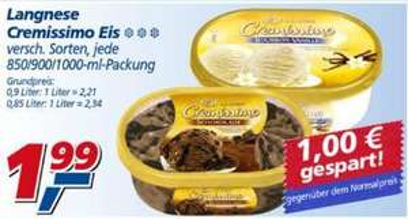 Langnese Cremissimo Eis (versch. Sorten) für 1,99€ bei Real