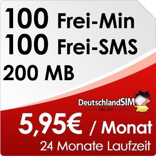 Deutschlandsim ALL-IN 100 - (200MB Daten Flat, 100 Frei-Minuten, 100 Frei-SMS, 5,95 Euro/Monat, Vodafone, (Amazon)