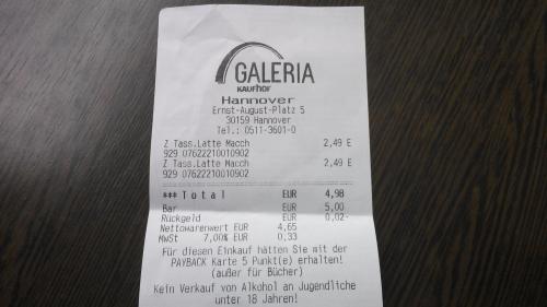 [Lokal?] Tassimo Tiefstpreis! Latte Macchiato für 2,49 Galleria Kaufhof Hannover