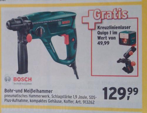 Bosch Bohr-Meißelhammer PBH 2500 RE + GRATIS Bosch Kreuzlinienlaser Quigo I MAX BAHR