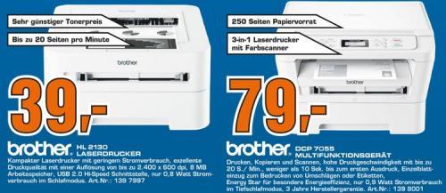 Brother Laseraktion HL 2130 39€ / Promarkt