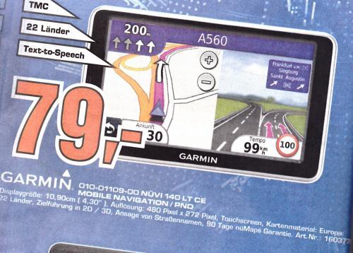 Saturn Aachen nur am Sonntag Garmin Nüvi 140LT CE für 79€