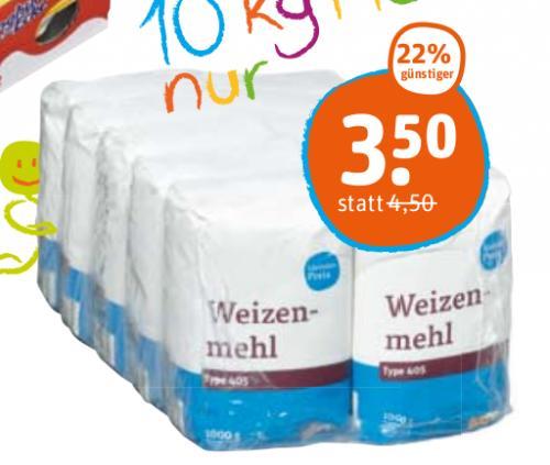 tegut: 10 x 1 kg Weizenmehl Type 405 für 3,50  € (22% günstiger)