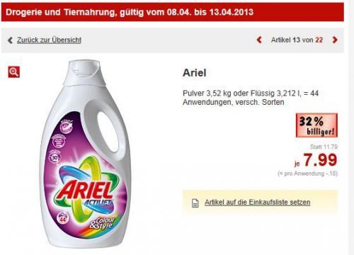 (kaufland offline) ariel waschpulver oder flüssig für 7,99€, 0,18€ pro Anwendung