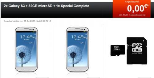 1 Vertrag + 2x Galaxy S3 + 32GB microSD