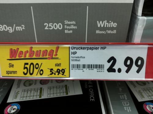 [evtl.Lokal]  Kaufland/HP Druckerpapier Home&Office 2,99€ - 500 Blatt