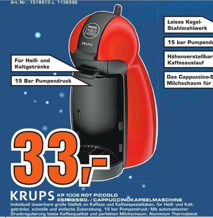 [ Saturn Nürnberg & Fürth ] Krups Nescafé Dolce Gusto Piccolo KP 1006 rot 33€